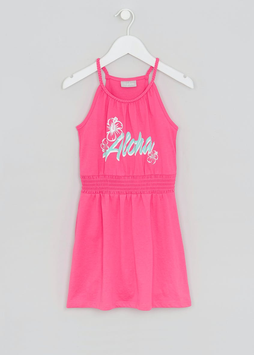 Girls Aloha Slogan Dress (4-13yrs)