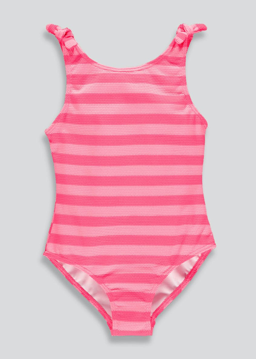 Mini Me Girls Waffle Stripe Swimming Costume (4-13yrs)