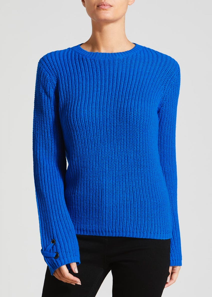 Eyelet Lace Up Cuff Jumper