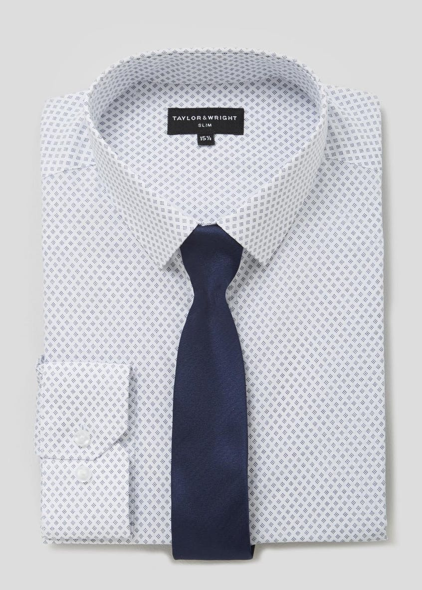 Slim Fit Diamond Print Shirt & Tie Set