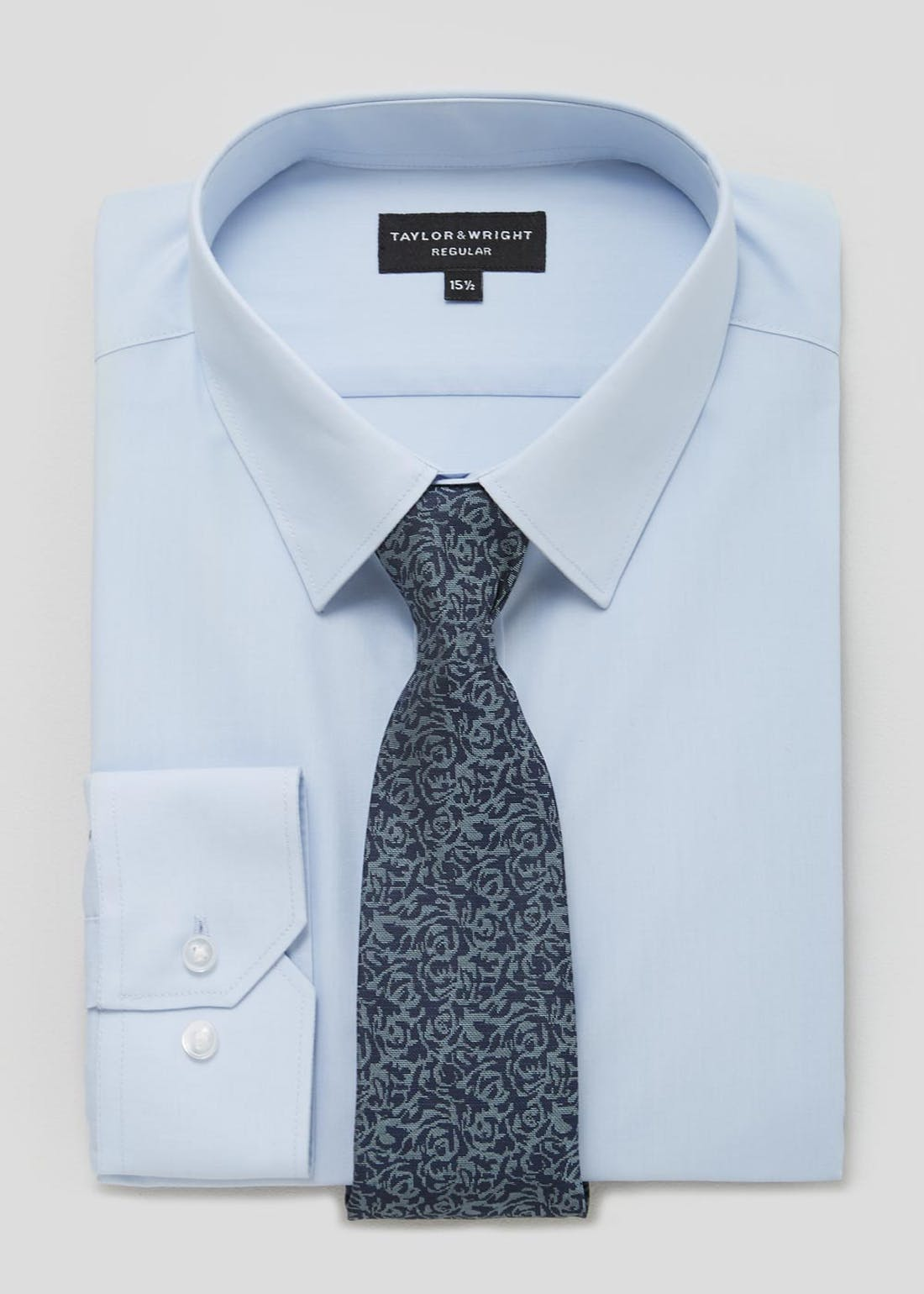 Taylor & Wright Regular Fit Long Sleeve Shirt & Tie Set