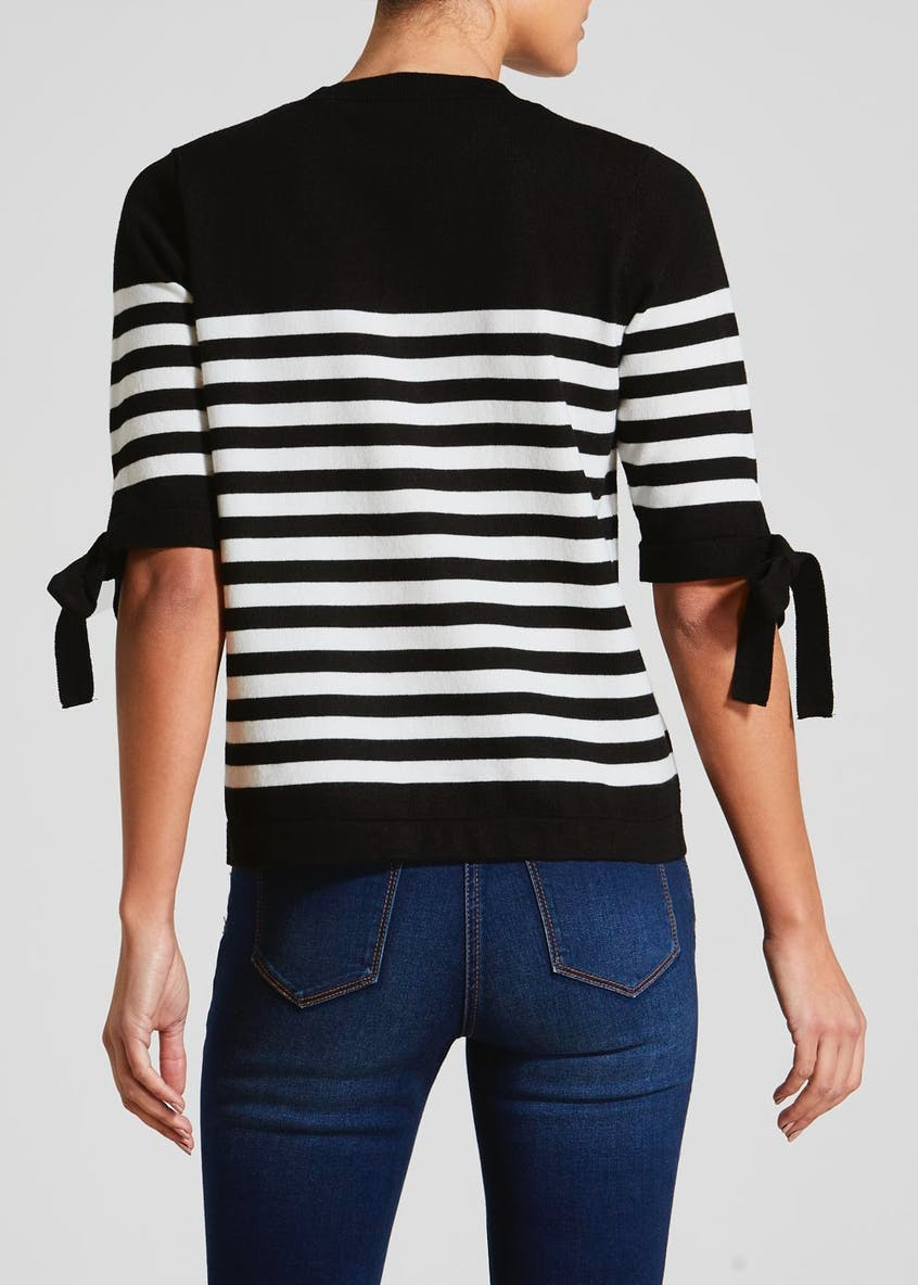 Stripe Tie Sleeve Jumper