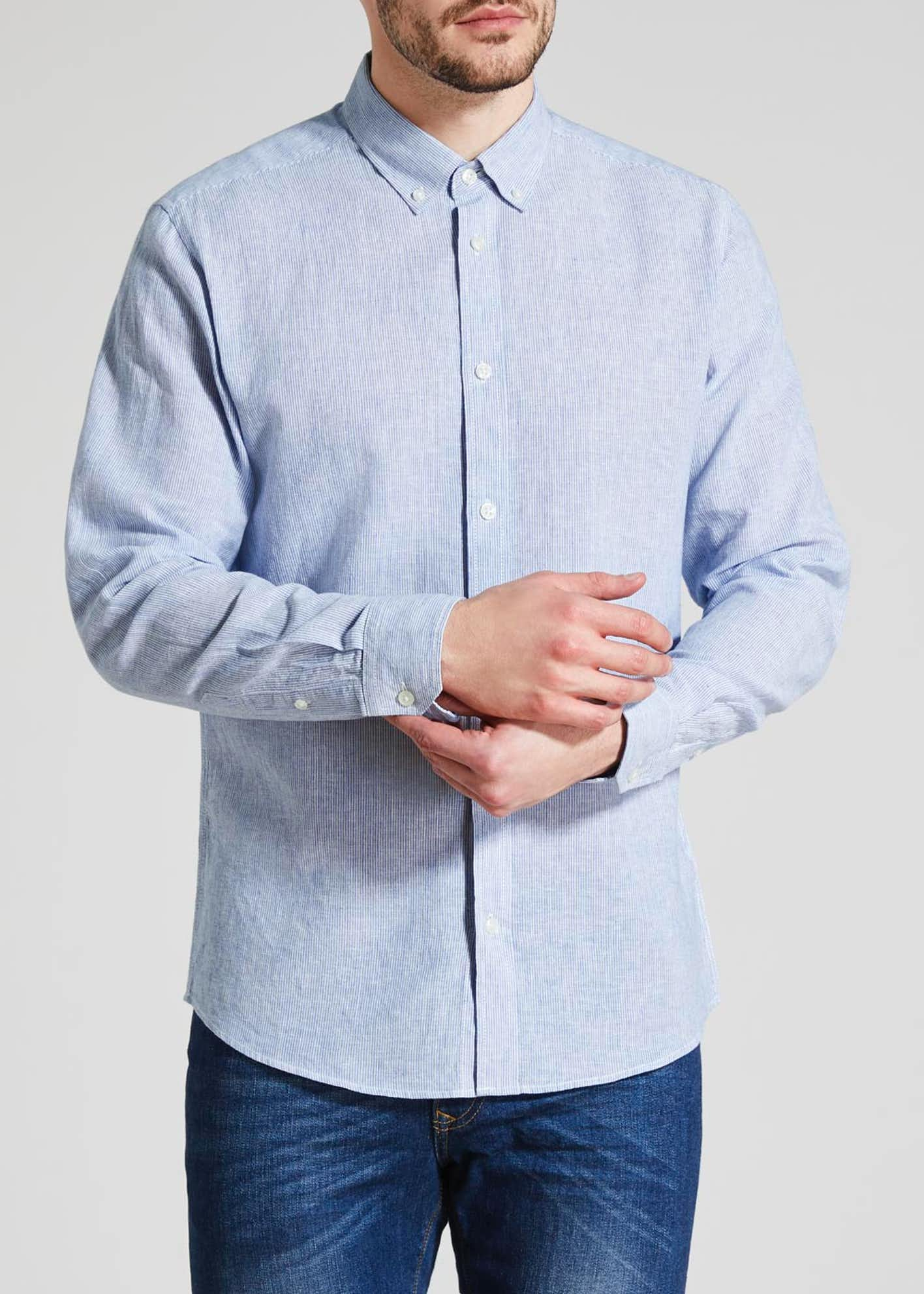 Roll Sleeve Linen Shirt