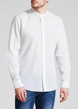 Roll Sleeve Grandad Collar Linen Shirt