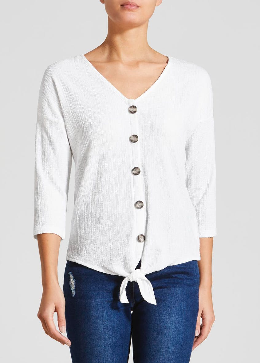 Textured Button Front Top