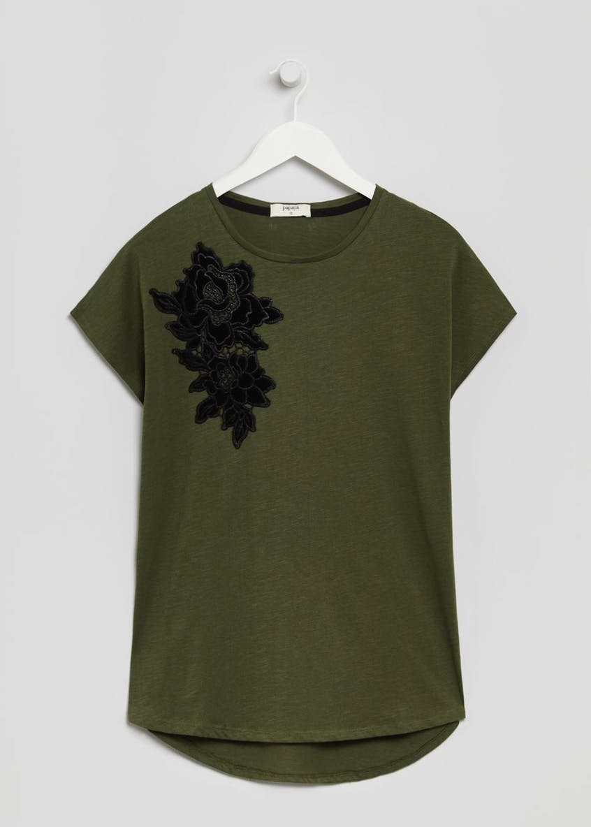 Floral Embroidered Shoulder T-Shirt