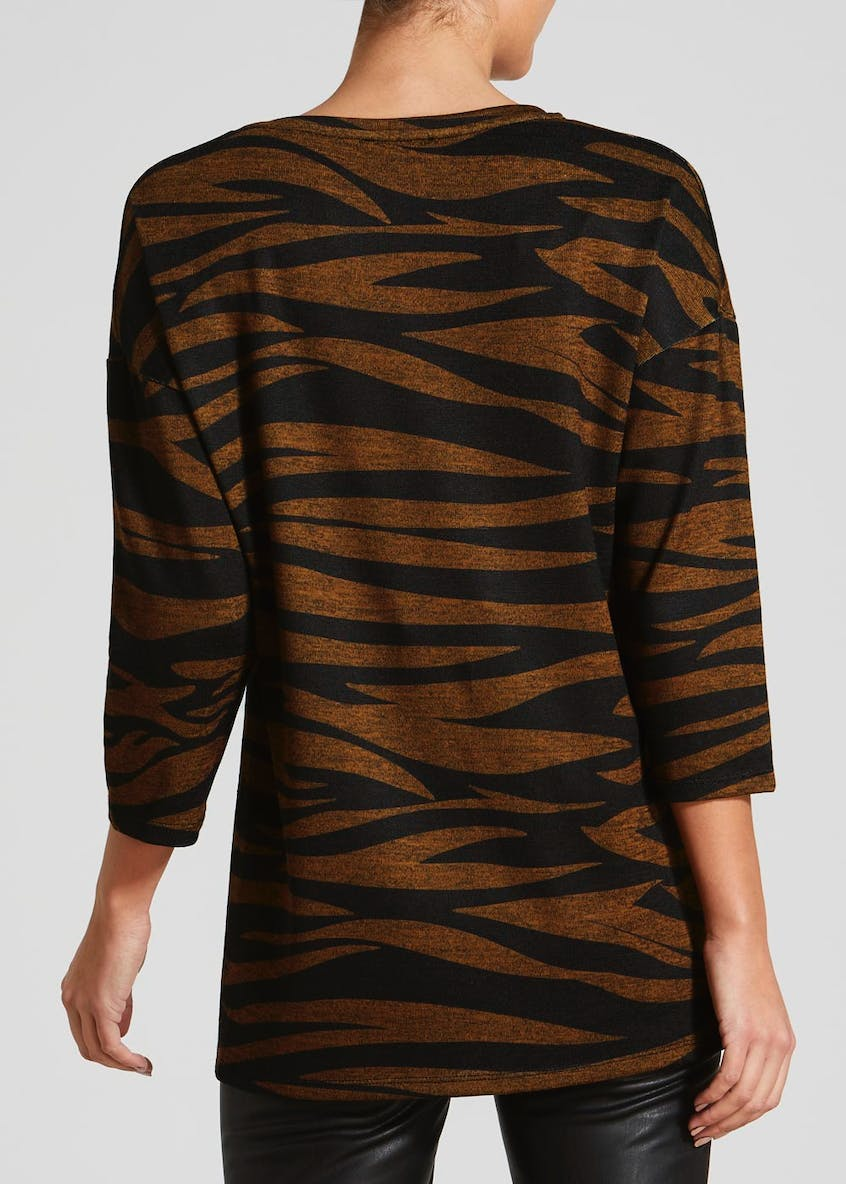 Zebra Print Button Front Snit Top