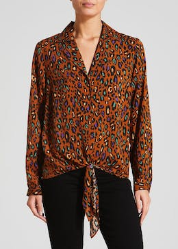 Animal Print Tie Front Shirt