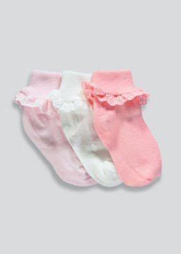 Girls 3 Pack Lace Socks (Newborn-8.5)