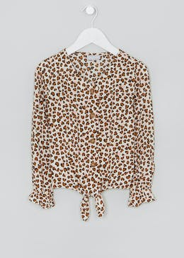 Girls Leopard Print Blouse (4-13yrs)