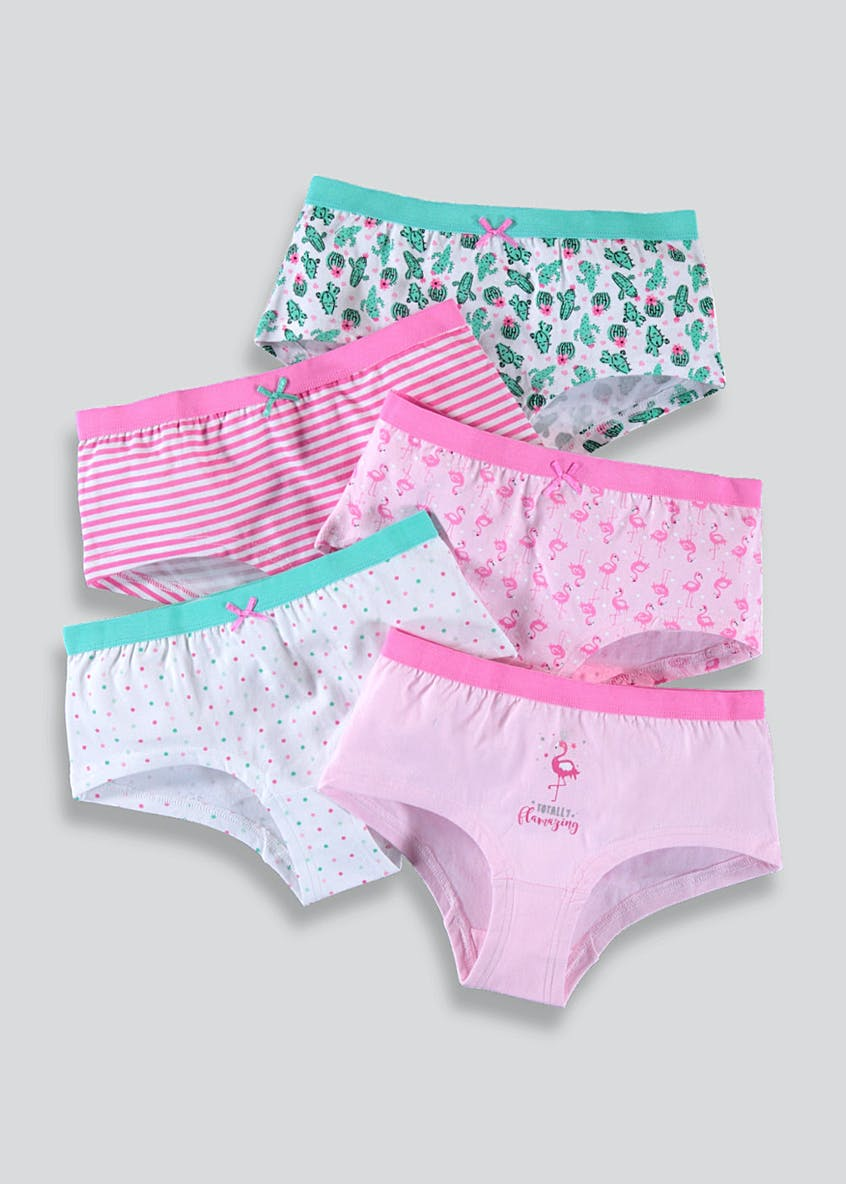 Girls 5 Pack Flamingo Boy Shorts (6-13yrs)