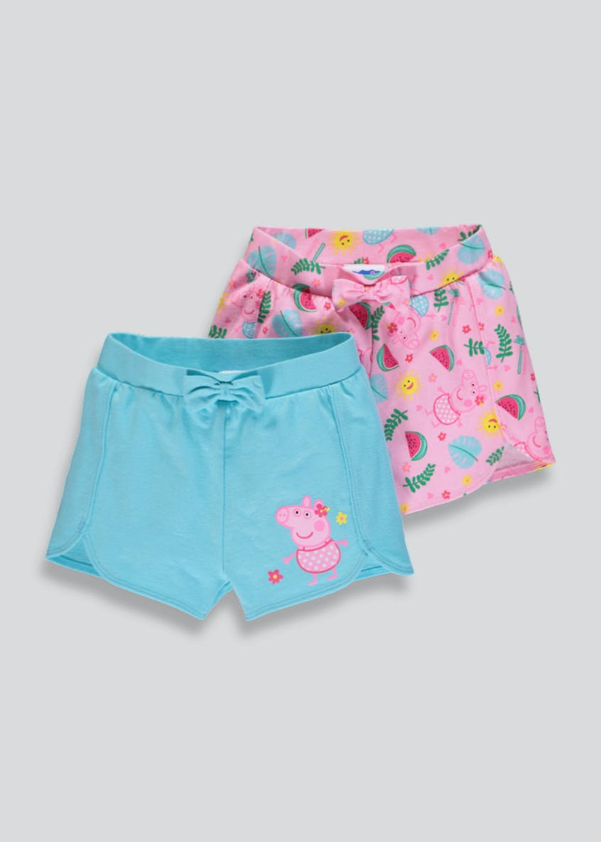 Girls Peppa Pig 2 Pack Shorts (12mths-5yrs)