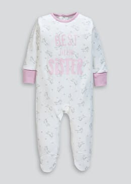 Girls Unicorn Sister Slogan Baby Grow (Tiny Baby-9mths)