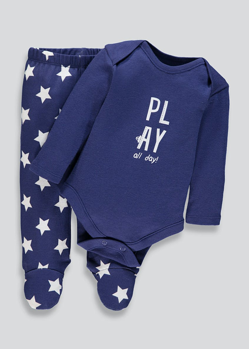 Unisex Play Slogan Bodysuit & Leggings Set (Tiny Baby-9mths)