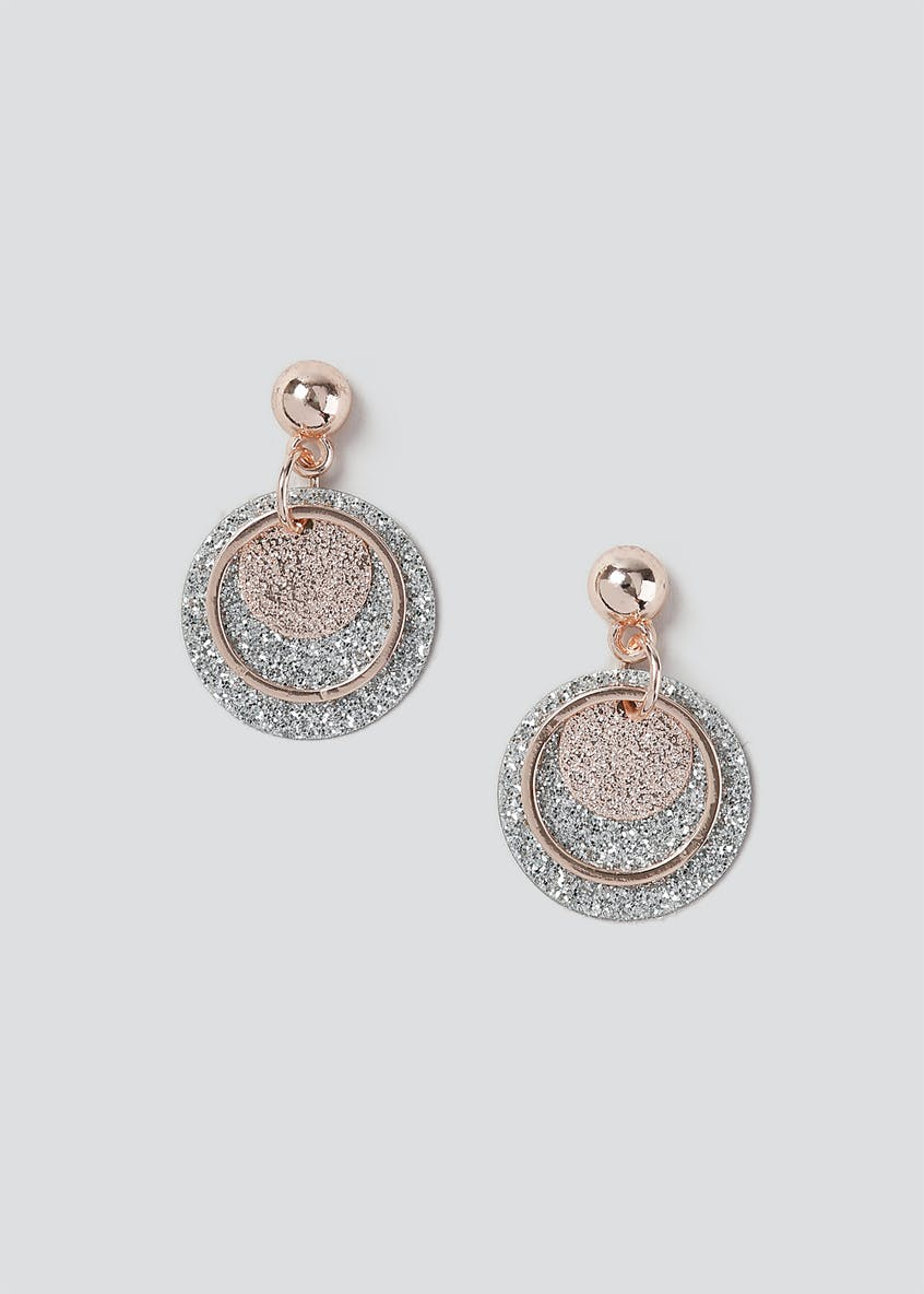Glitter Disc Drop Earrings