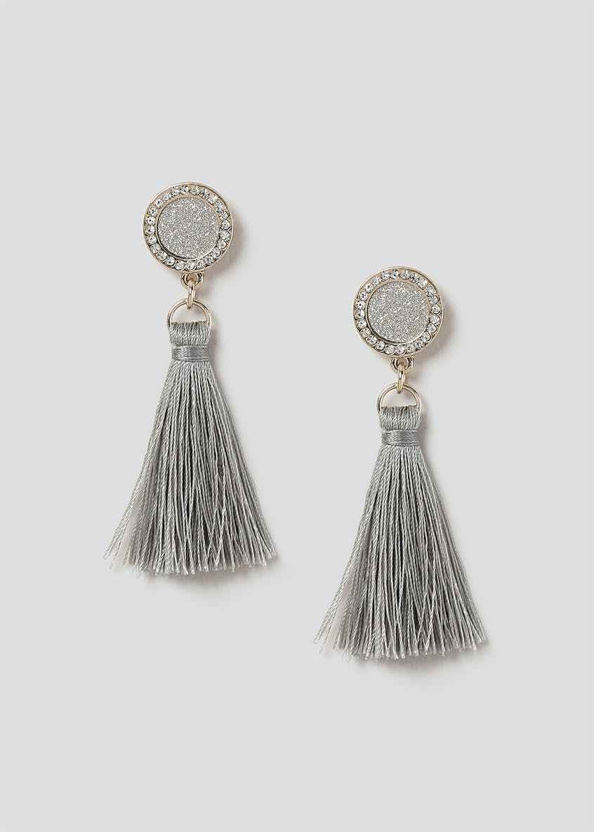 Silver Glitter Tassel Earrings