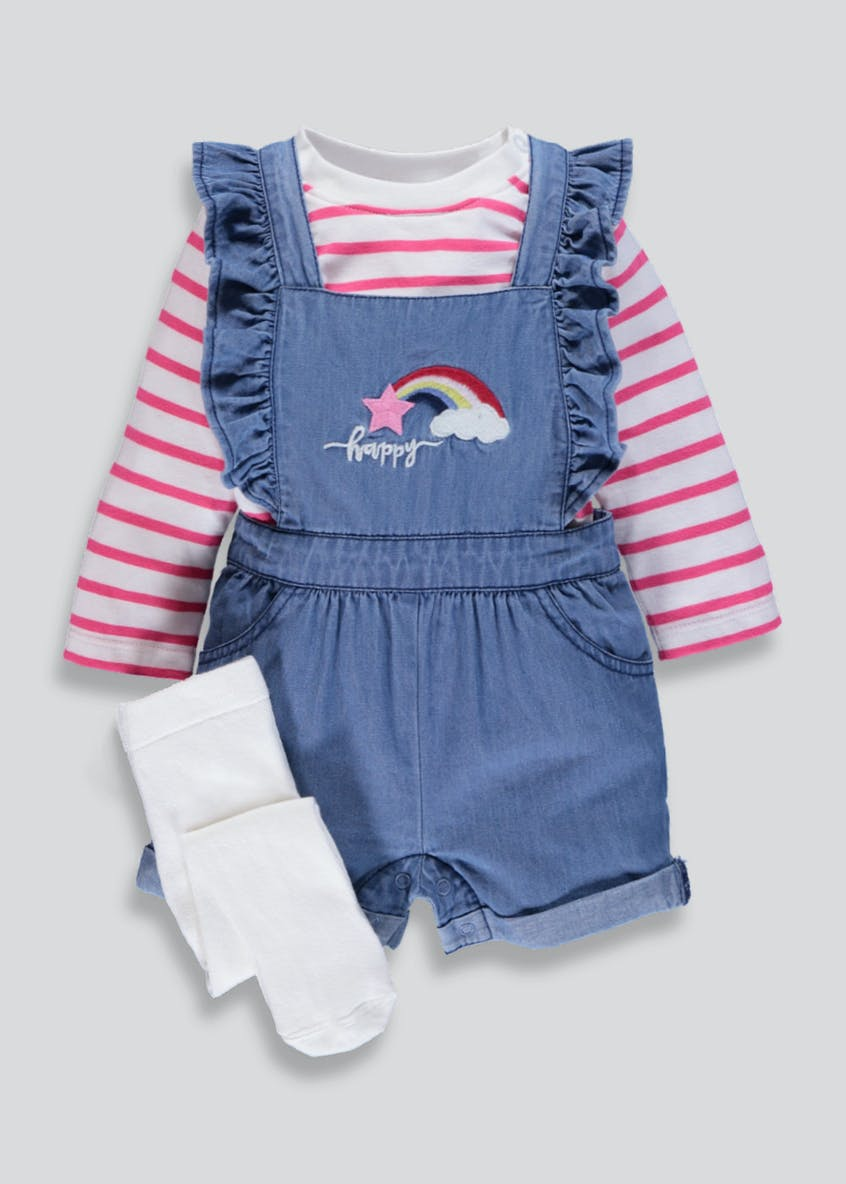Girls Denim Dungarees T-Shirt & Tights Set (Newborn-18mths)