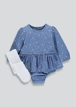 Girls Denim Skirted Bodysuit & Tights Set (Newborn-18mths)