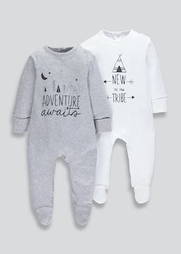 Unisex 2 Pack Baby Grows (Tiny Baby-9mths)