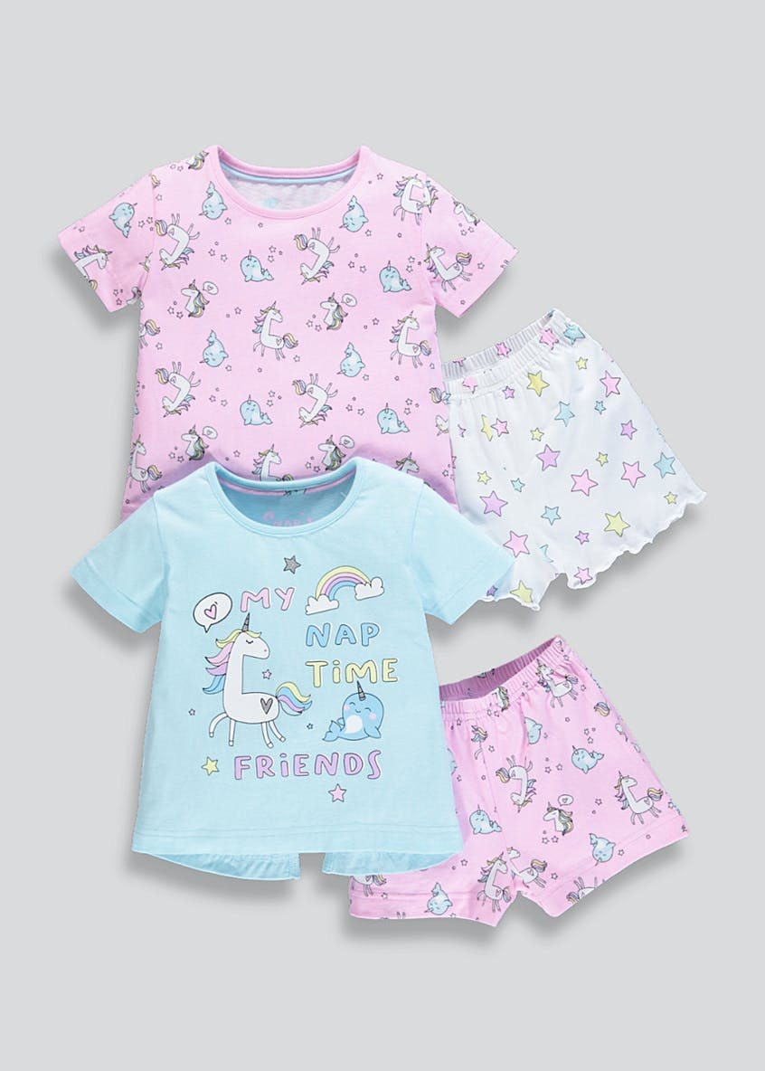 Girls 2 Pack Unicorn Pyjamas (9mths-5yrs)