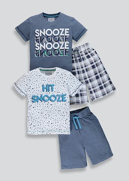 Boys 2 Pack Snooze Slogan Pyjamas (4-13yrs)