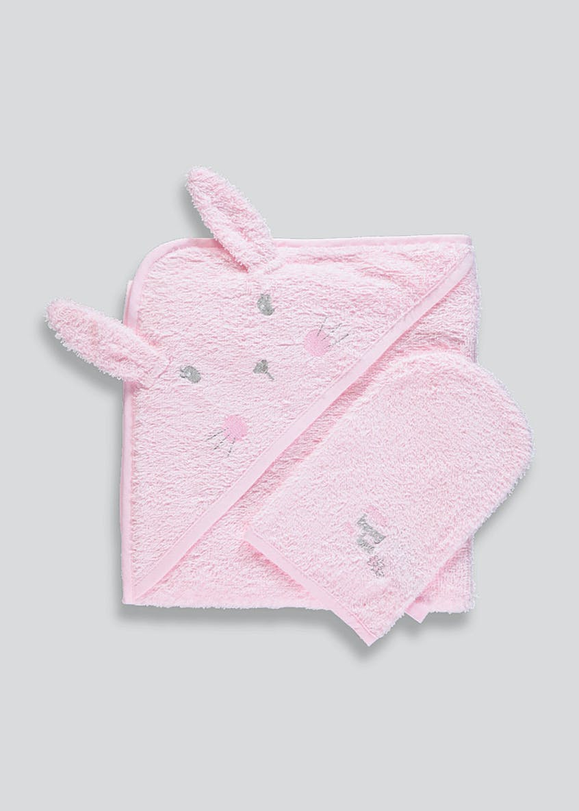 Bunny Hooded Towel & Wash Mitt (One Size)