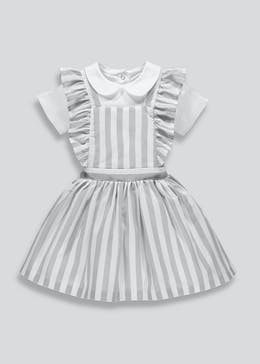 8236241996 Girls Stripe Pinafore Dress   Bodysuit Set (Newborn-18mths)