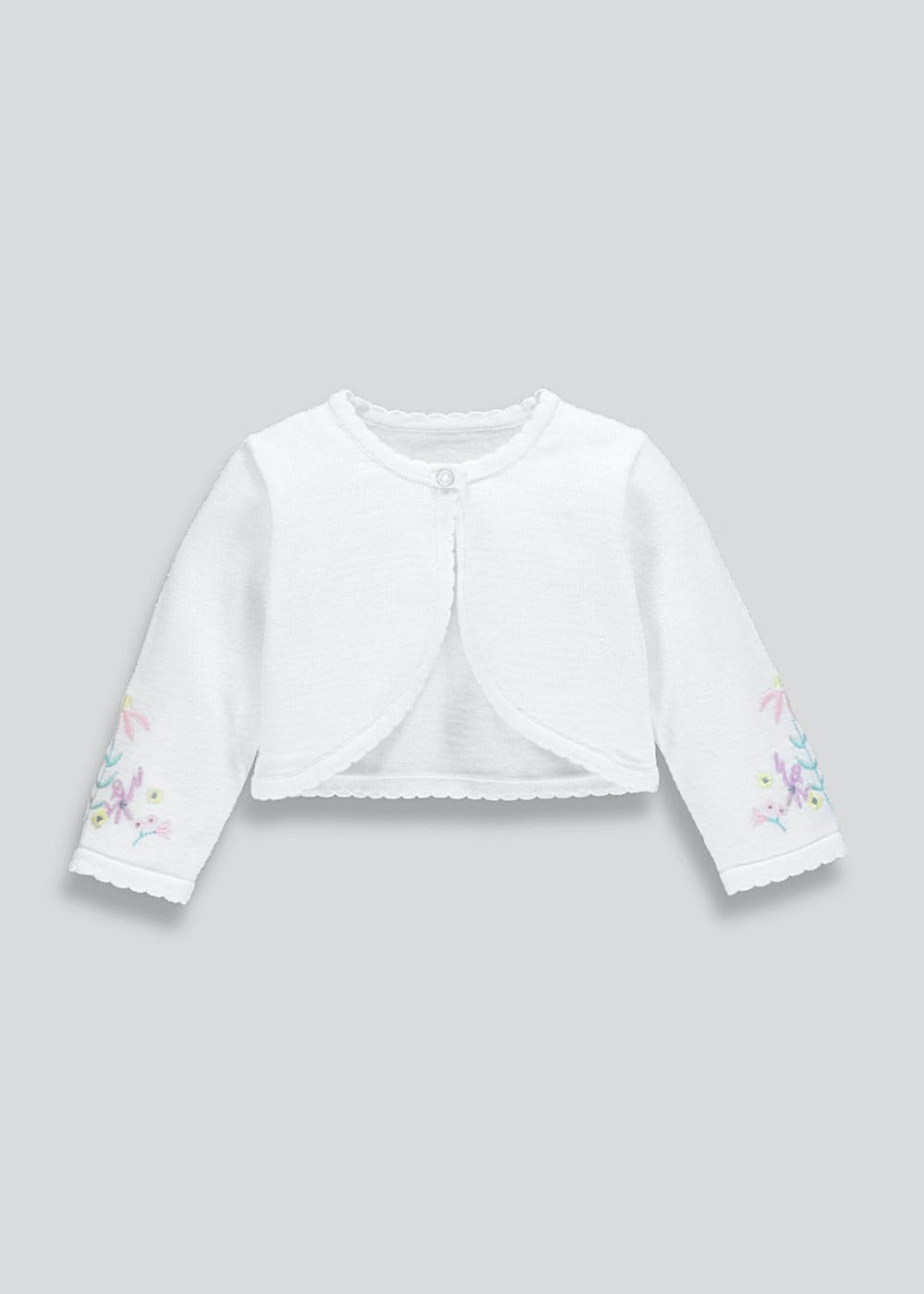 9091fca49c4 Girls Floral Embroidered Bolero Cardigan (Newborn-18mths) – White ...