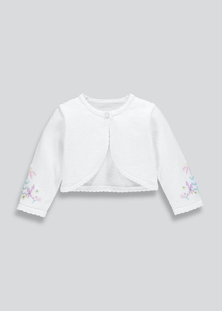 Girls Floral Embroidered Bolero Cardigan (Newborn-18mths)