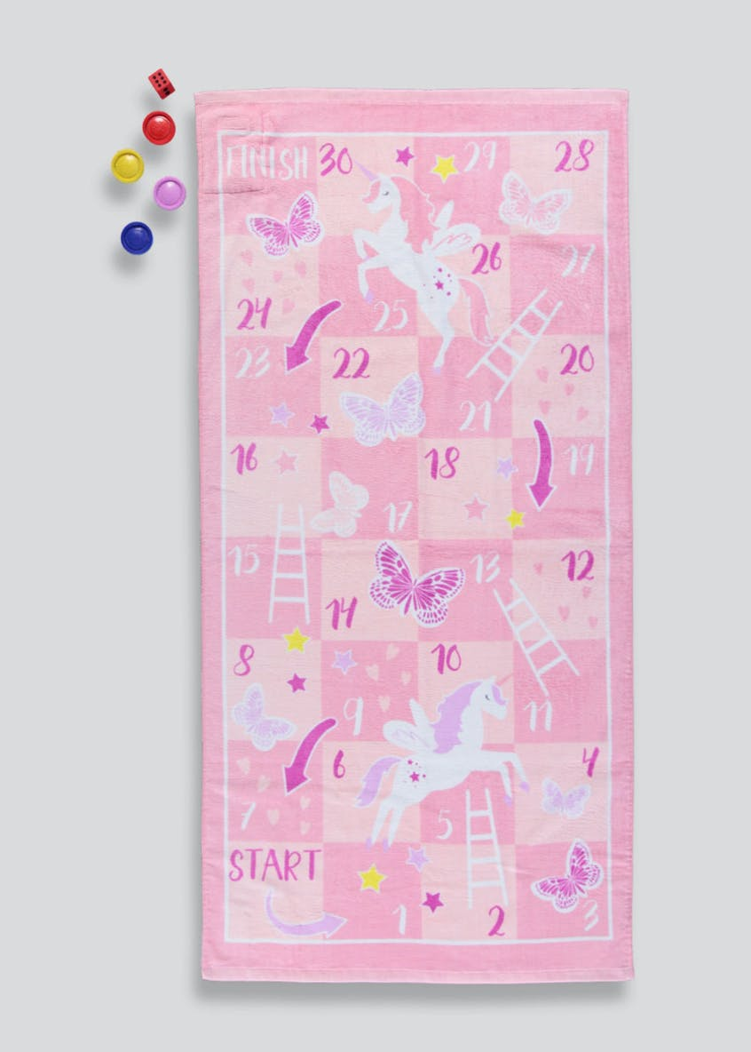 Unicorn Snakes & Ladders Beach Towel Set (140cm x 70cm)