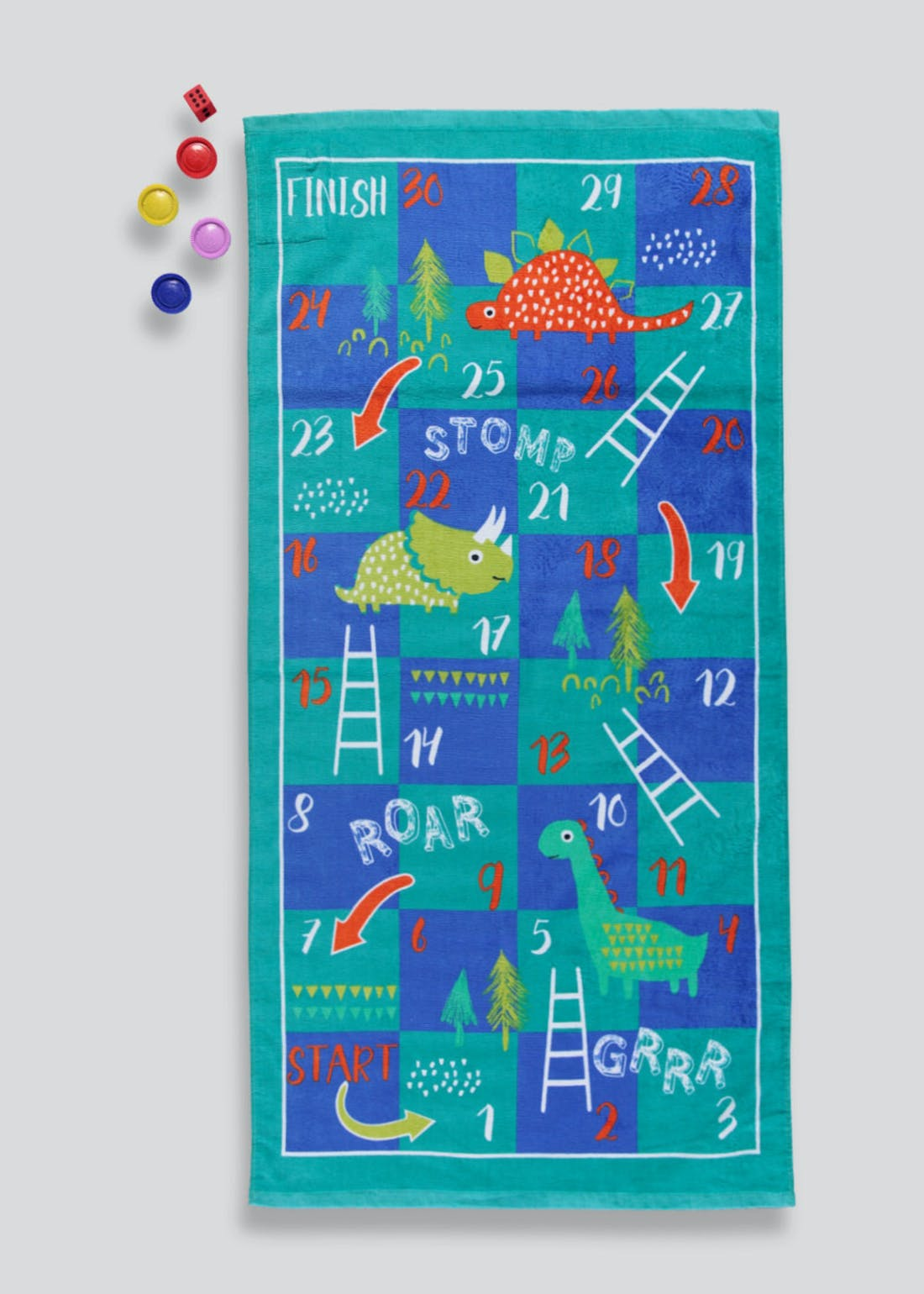 Dinosaur Snakes & Ladders Beach Towel Set (140cm x 70cm)