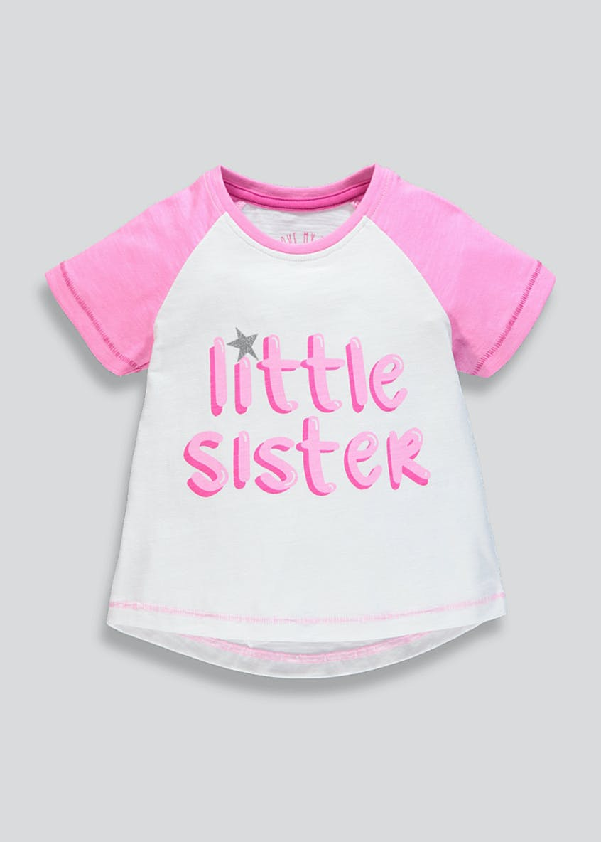 Girls Little Sister Slogan T-Shirt (9mths-6yrs)