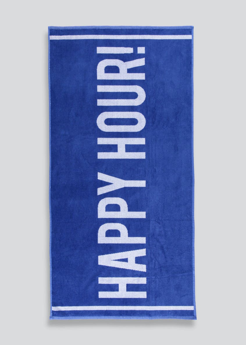 Happy Hour Slogan Beach Towel (138cm x 70cm)