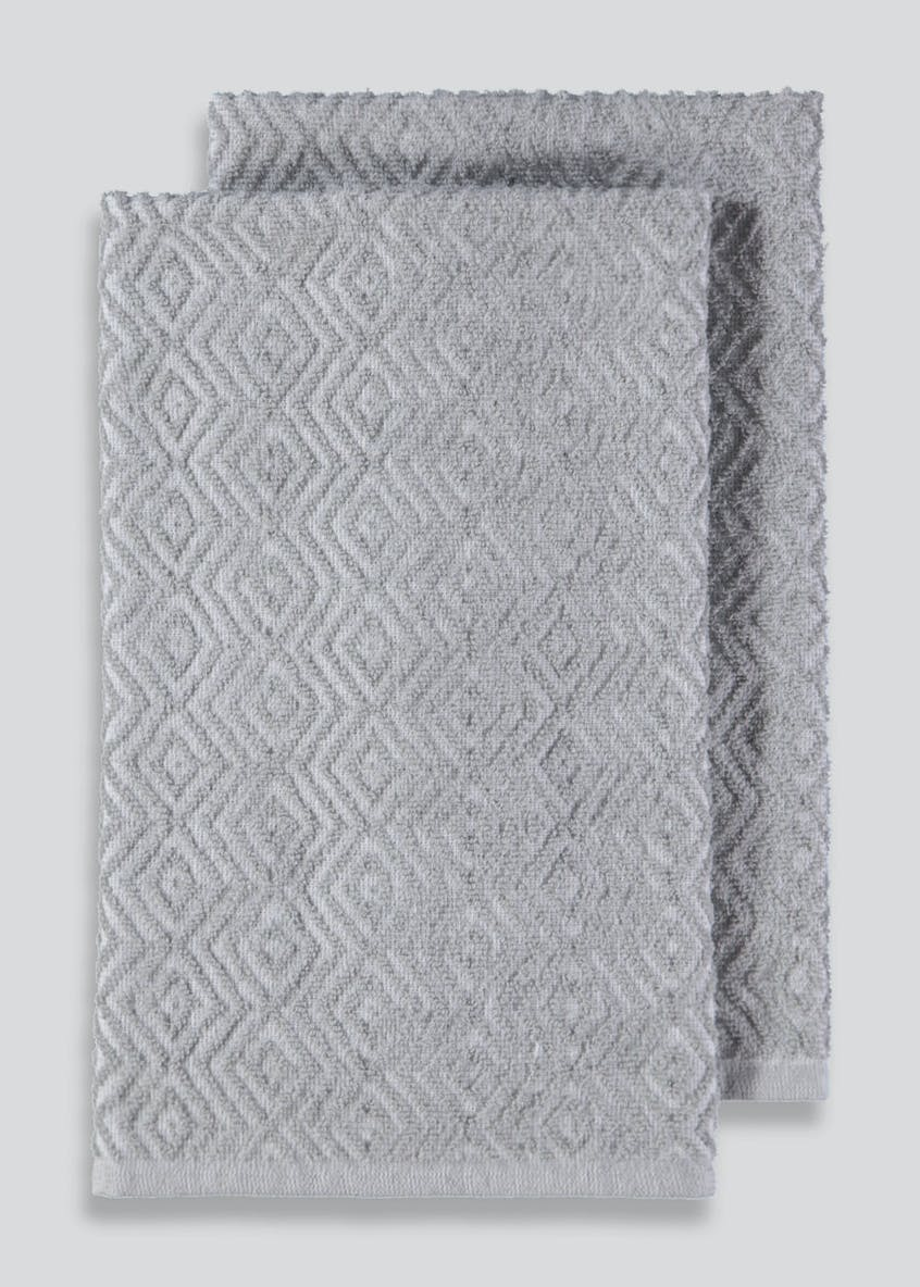 2 Pack Diamond Textured Tea Towels