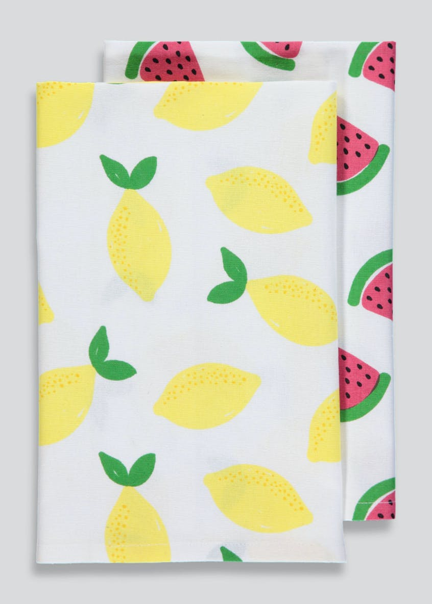 2 Pack Fruit Print Tea Towels