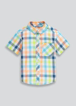 ef4bb6e0542096 Boys Short Sleeve Neon Check Shirt (9mths-6yrs)