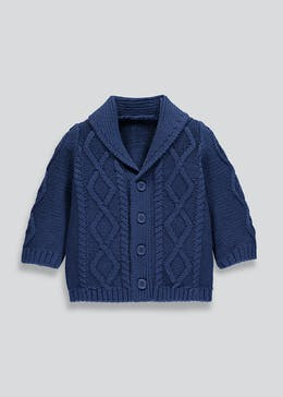 Boys Cable Knit Shawl Cardigan (Newborn-18mths)