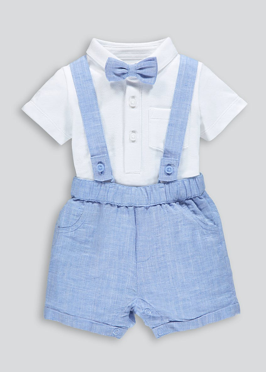 Boys Shorts with Braces & Bow Tie Romper (Newborn-18mths)
