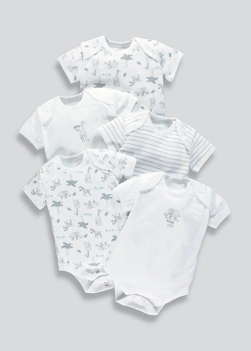 Unisex 5 Pack Printed Baby Grows (Tiny Baby-18mths)