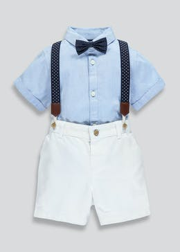 Boys Shirt Shorts Braces & Bow Tie Set (9mths-5yrs)