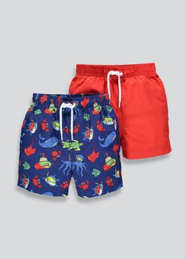 Boys 2 Pack Swim Shorts (9mths-5yrs)