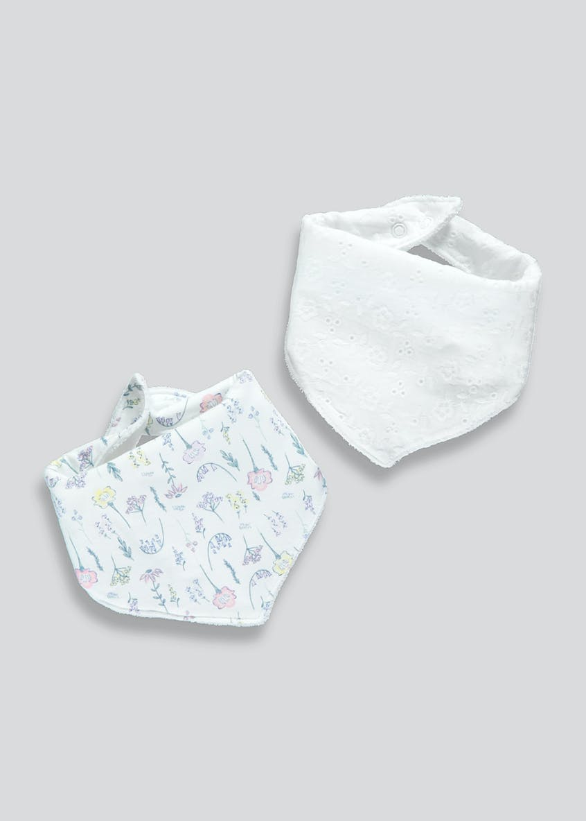 2 Pack Broderie & Floral Bandana Bibs