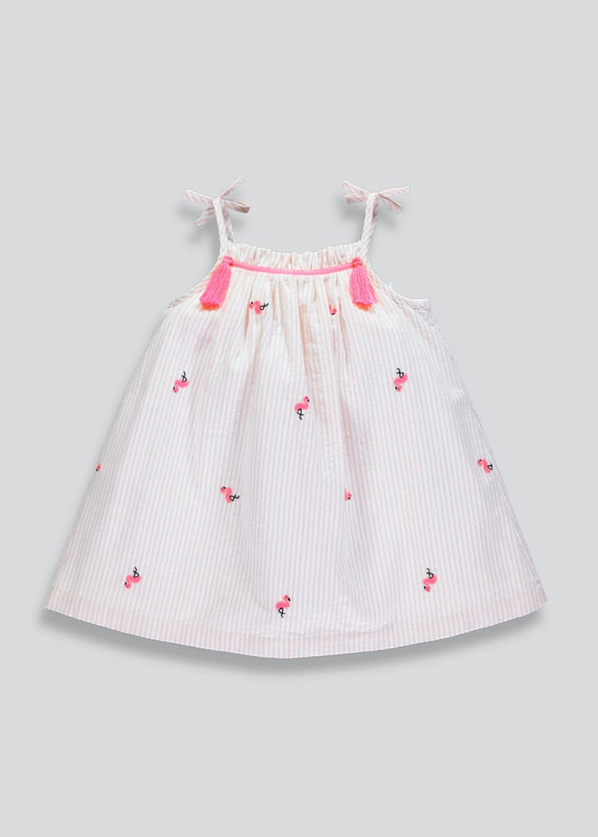 Girls Flamingo Stripe Dress (9mths-6yrs)