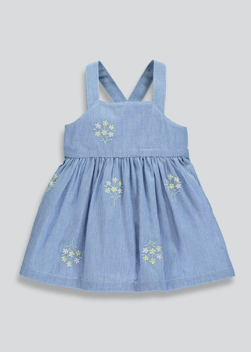 Girls Stripe Floral Embroidered Dress (Newborn-18mths)