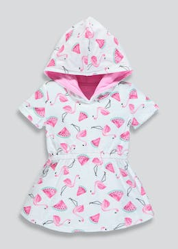 Girls Flamingo Print Hooded Towelling Dress (9mths-6yrs)
