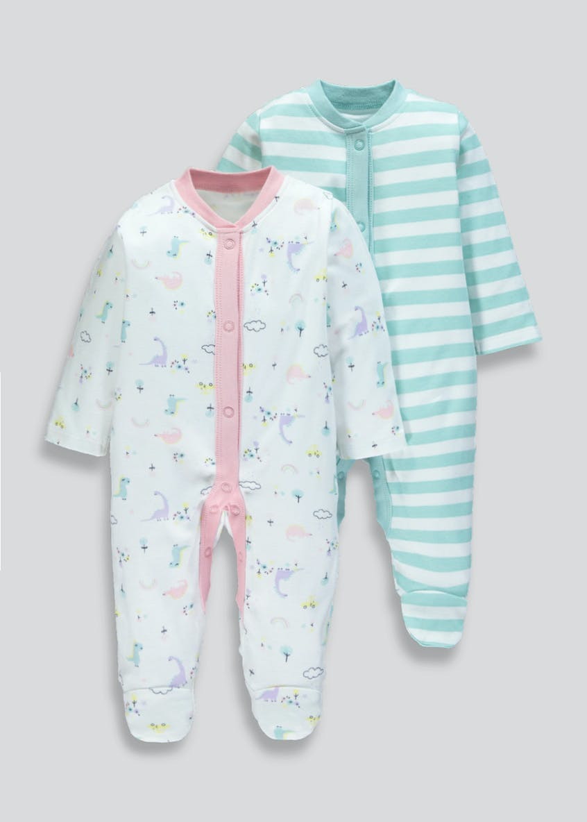 Unisex 2 Pack Printed Baby Grows (Tiny Baby-18mths)
