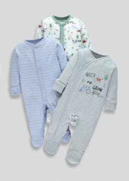 Unisex 3 Pack Babygrows (Tiny Baby-18mths)