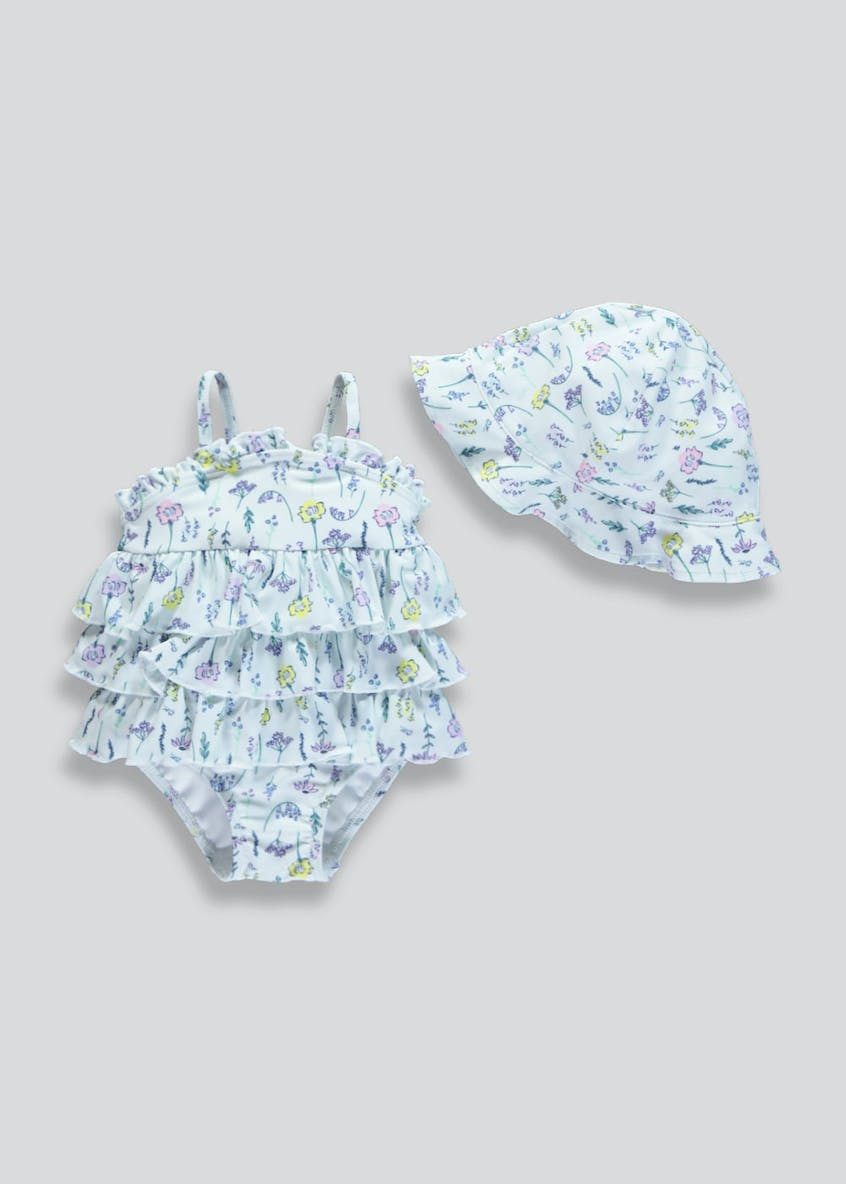 Girls Floral Swimming Costume & Swim Hat Set (Newborn-12mths)