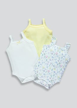 Girls 3 Pack Cami Bodysuits (Newborn-23mths)