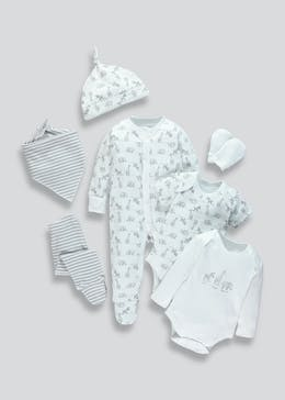 Unisex 7 Piece Animal Print Babygrow Set (Tiny Baby-9mths)